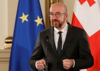 epa09044192 A handout photo made available by Georgian President's Press Service shows Charles Michel, the president of the European Union Council speaking during a news conference at Georgian president's residence in Tbilisi, Georgia, 01 March 2021. Michel is on a working visit to Georgia.  EPA-EFE/GEORGIAN PRESIDENT'S PRESS SERVICE/HANDOUT  HANDOUT EDITORIAL USE ONLY/NO SALES HANDOUT EDITORIAL USE ONLY/NO SALES